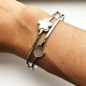 Chic silver & gold heart and flower cuff bracelet